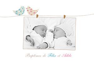 Faire-part de baptême jumeaux poétique jumeaux mixte