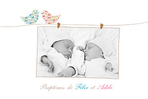 Faire-part de baptême frère et sœur poétique jumeaux mixte