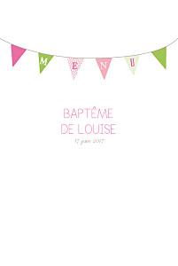 Menu de baptême vintage fanions rose vert