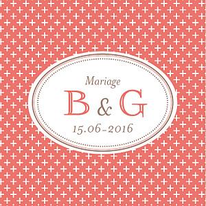 Etiquette de mariage rouge motif chic (carré) corail