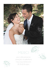 Carte de remerciement mariage mr & mrs clynk  envolée vert d'eau