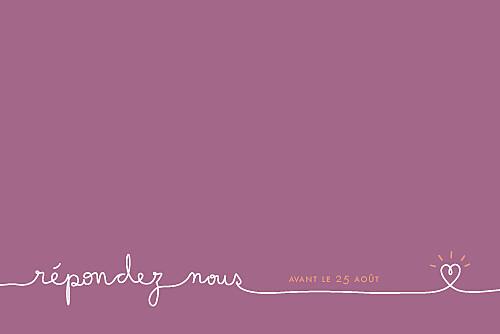 Carton réponse mariage Tendresse violet