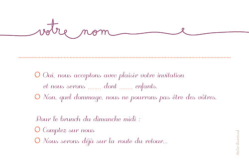 Carton réponse mariage Tendresse violet - Page 2