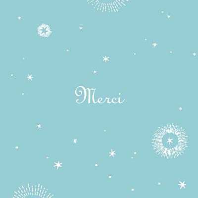 Carte de remerciement Merci constellation photo turquoise finition