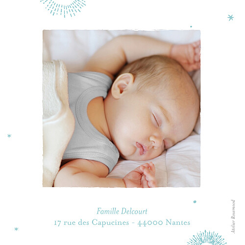 Carte de remerciement Merci constellation photo turquoise - Page 2