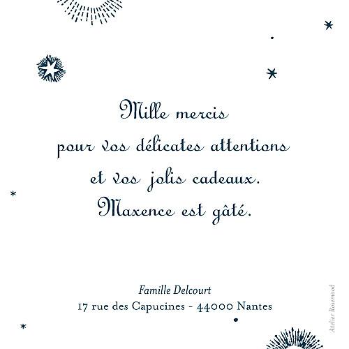 Carte de remerciement Merci constellation bleu nuit - Page 2
