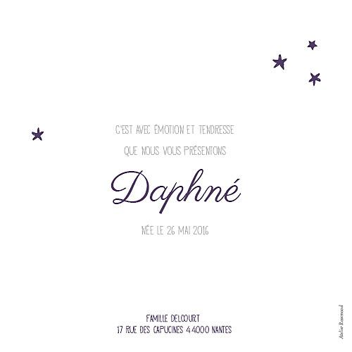 Faire-part de naissance Nuit étoilée aubergine - Page 2