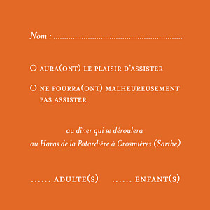 Carton réponse mariage orange chic (carré) orange