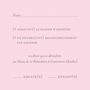 Carton réponse mariage marron chic (carré) rose pâle