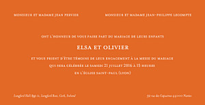 Faire-part de mariage orange chic panoramique orange