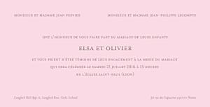 Faire-part de mariage marron chic panoramique rose pâle