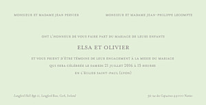 Faire-part de mariage gris chic panoramique vert pâle