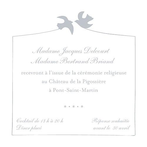 Carton d'invitation mariage Colombe gris