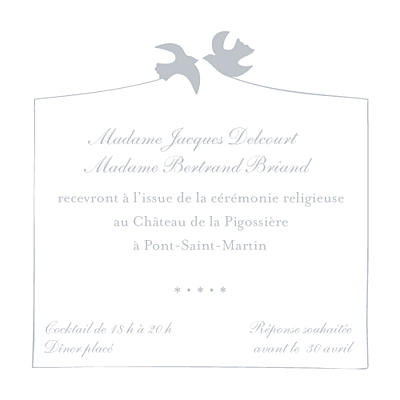 Carton d'invitation mariage Colombe gris finition