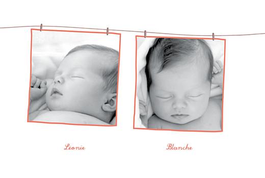 Faire-part de naissance Fil à linge jumelles fraise - Page 2