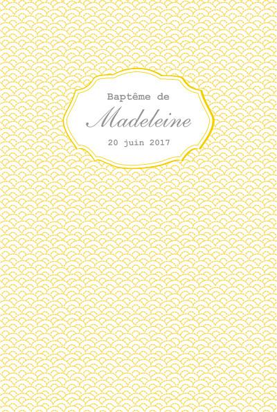 Menu de baptême Pistil écusson (4 pages) jaune finition