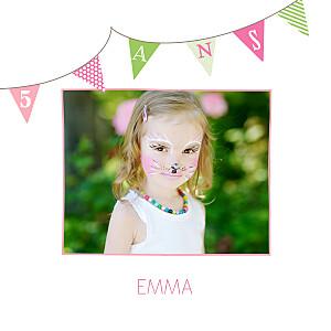 Carte d'anniversaire vert fanions photo rose anis