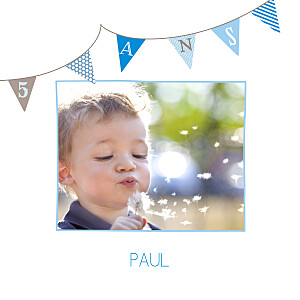 Carte d'anniversaire marron fanions photo bleu taupe