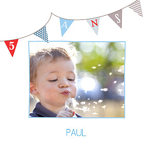 Carte d'anniversaire Fanions photo bleu rouge