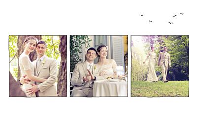 Carte de remerciement mariage Promesse champêtre (3 photos) blanc finition