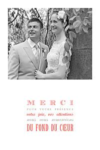 Carte de remerciement mariage rouge le plus beau jour corail