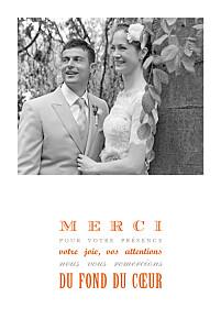 Carte de remerciement mariage orange le plus beau jour orange
