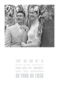 Carte de remerciement mariage gris le plus beau jour gris clair