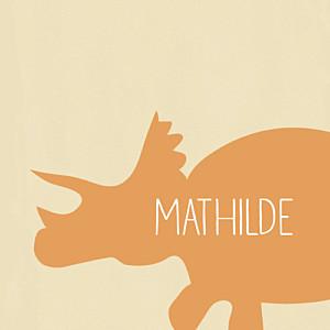 Carte d'anniversaire Tricératops orange