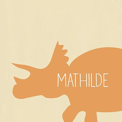 Carte d'anniversaire Tricératops orange finition