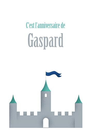 Carte d'anniversaire Château fort turquoise