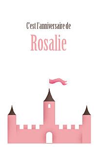 Carte d'anniversaire Château fort rose