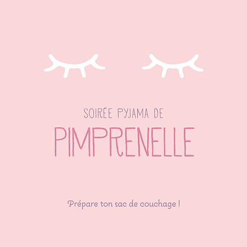 Carte d'anniversaire Soirée pyjama (4 pages) rose