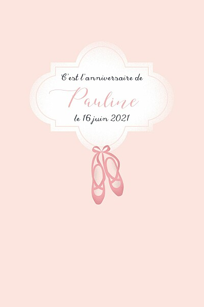 Carte d'anniversaire Chaussons de danse rose finition