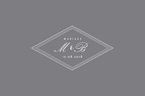 Carton réponse mariage Monogramme gris foncé
