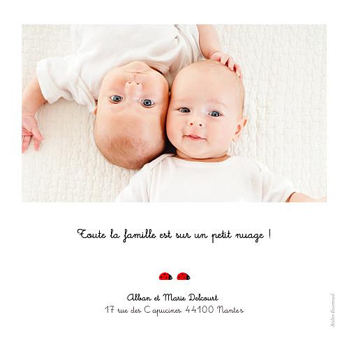 Faire-part de naissance Coccinelle jumeaux gris - Page 2