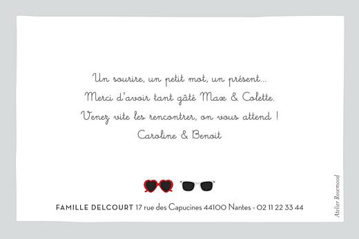 Carte de remerciement Merci jumeaux lunettes gris & rouge - Page 2