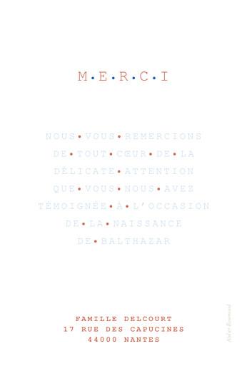 Carte de remerciement Merci marinière photo bleu - Page 2