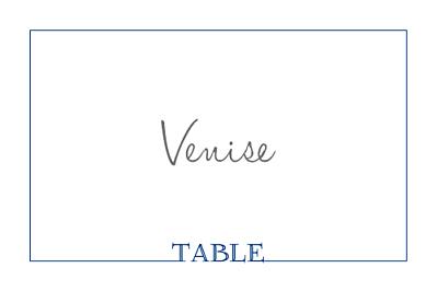 Marque-table mariage Classique liseré bleu finition