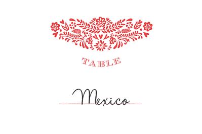 Marque-table mariage Papel picado corail finition