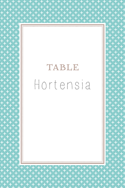 Marque-table mariage Motif chic turquoise finition