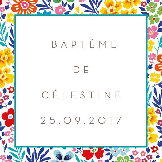 Etiquette perforée baptême Mille fleurs jaune & rouge