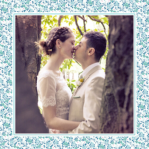 Carte de remerciement mariage Simplement liberty (carré) bleu
