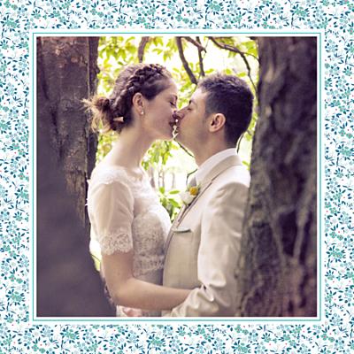 Carte de remerciement mariage Simplement liberty (carré) bleu finition