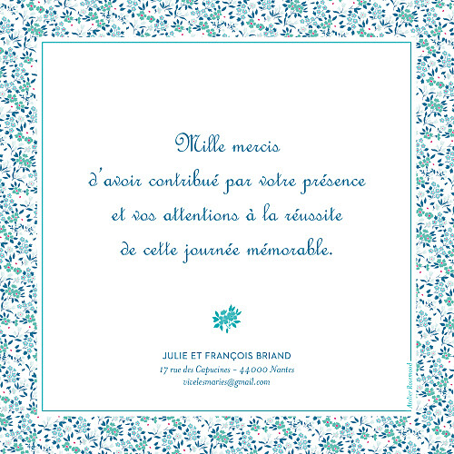 Carte de remerciement mariage Simplement liberty (carré) bleu - Page 2
