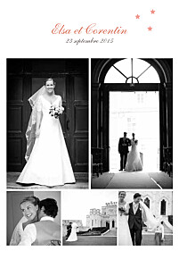 Carte de remerciement mariage mr & mrs clynk  hollywood corail