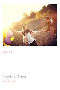 Menu de mariage avec photo moderne photo 4 pages blanc