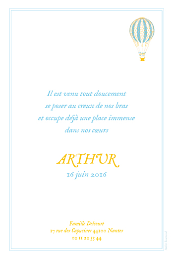 Faire-part de naissance Montgolfière bleu jaune - Page 2