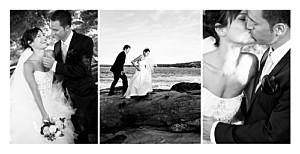Carte de remerciement mariage classique 3 photos (panoramique) blanc