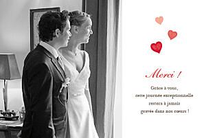 Carte de remerciement mariage rouge coeurs blanc rouge