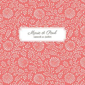 Faire-part de mariage orange idylle (4 pages) corail